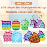 Fidget brinquedo jóias sensoriais chaveiro empurrar ts bolha desenhos animados simples covinho brinquedos keychain mosquetão repelente 4962