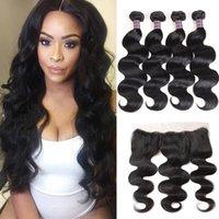 Indian Human Hair Body Wave Loose Deep Peruvian Human Hair Bundles With Closure Brazilian Water Wave Hair Weaves 4pcs With 13*2.5 Frontal