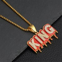 Hip Hop Iced Out Bling Letter King Pendant Necklaces Rapper Gold Color Stainless Steel Chains For Women Man Hiphop Jewelry
