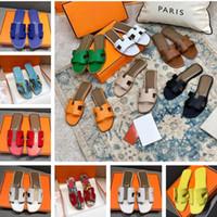 2021 Chinelos de desenhista mulheres sandálias senhoras luxo couro genuíno h desliza sapatos lisos sapatos de casamento de festa de sandália oran com caixa tamanho 35-42
