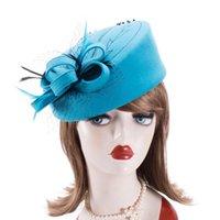 Fascinator Hüte für Frauen Winter bestickte Schleierwolle Filz Pillbox Hüte Für formale Cocktailparty Hochzeit Hüte Fedoras A140