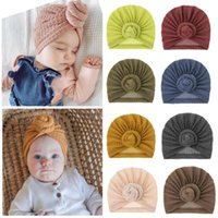 Baby Boys And Girls Indian Hat Waffle Wool Doughnut Cup Children Knitted Ball HatS Head Wear Cute Accessories