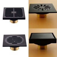 Modern Pure Black Invisible Shower Floor Drain /Bathroom Balcony Use Brass Material Rapid Drainage Tile Insert Square Drains 609 R2