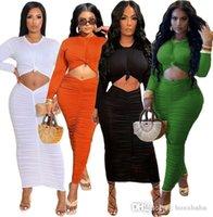 Damen Designer Falten Bodycon Dress Langarm Weißer Rock Zwei Teil Set Lässige Massive Mode Kleider Frauen Kleidung S-XL
