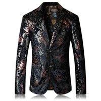 رجالي أزياء اللباس الحلل قمم الأزهار المطبوعة جاكيتات معاطف يتأهل الذكور المخملية عارضة السترة مرحلة ارتداء