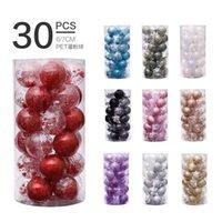 Party Decoration 6cm 30PCS Rose Gold Christmas Tree Balls Plastic Clear Ball Ornament For Xmas Decor Natal Navidad 2022 Year