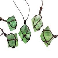 Collares colgantes de punto hecho de punto colorido áspero collar de piedra natural verde fluorita envoltura trenza joyería de moda regalo para las mujeres