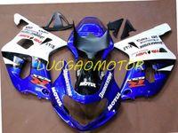 Injetion Custom Fairing kits for SUZUKI GSXR600 750 Cowling GSXR600 Bodywork GSXR 600 Fairings kit White Blue )*^GHJ67 GSXR 750 K1 K2 K3 01 02 03 Bodywork 2001 2002 2003