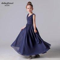 Girl's Dresses Bridesmaid Party V-Neck Dress 2021 Chiffon Girl Wedding Banquet Kids Birthday For Pleat Princess Sleeveless