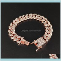 Jewelrycuban Link Chain Bracelets Iced Out Bling Simated Diamond Mens Hip Hop Jewelry Sier Rose Gold 12Mm Women Fashion Hiphop Tennis Drop D