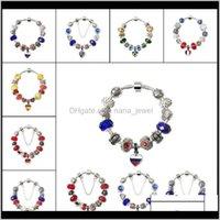 Perlé, brosses bracelets de la Coupe du monde de la Coupe nationale Soer fan Souvenir cadeau Chaîne cadeau Bracelet Fashion alliage bijoux 7 couleurs Choisissez Drop Deli