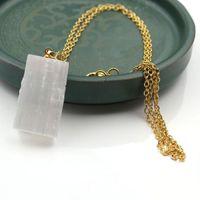Pendant Necklaces XSM Natural Selenite Raw Stone Irregular Column White Gypsum Stick Wands Reiki Healing Charms Jewelry Making