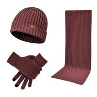 Hats, Scarves & Gloves Sets Beanie Hat Scarf Kit Unisex 3 In 1 Winter Warm Ribbed Knit Long Touch Screen