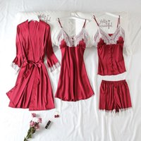 Women's Sleepwear Spring Summer Silk Satin Lace Sexy Women Robe Suit Thin Long Sleeve Bathrobe Four Piece Set Loose Casual Homewear