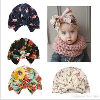 New design Europe US baby bow-knot flower printed hedging cap cute boy&girl hair accessories cotton 100%