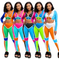 Fall Winter Women Fitness clothes 2 two piece tracksuits set Contrast stripes sports casual suit zipper long sleeve hooded crop top skinny leggings pants sportswear