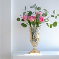 French retro relief vases light luxury crystal glass high foot flower vase flowers arrangement hydroponic Lily Rose