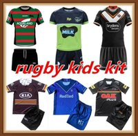 21 22 Kit d'enfants de qualité supérieure 2021 2022 Jerseys de rugby Ensemble Melbourne Broncos West Tiger Lapin Léopard Home Away Jersey Enfants Enfants Taille de la taille 16-26