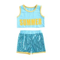 Clothing Sets 1-6 Years Toddler Girls 2pcs Outfit Sleeveless Matching Letter Short Vest Top Sequins Decoration Shorts Toddlers Girl Summer S