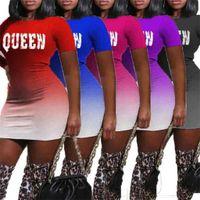 Degrade Renk Seksi Bayan Elbiseler Kraliçe Harfler Baskı Yaz Kısa Kollu Elbise Kızlar Için Uzun Kollu Minikirt Parti Kulübü G4te6hj Giymek