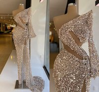 Sparkly Sequined Crystals Evening Dresses 2021 Unique One Shoulder Glitter Pageant Prom Gowns Sexy High Side Slit Long Sleeve Arabic Women Formal Party Wear AL9024