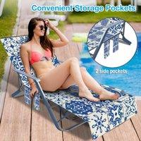 Beach Lounge Chair Cover Superfine Fiber Towel Summer Cool Bed Garden Sunbath Lazy Sun Lounger With Pocket 210x73cm Covers