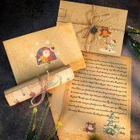 グリーティングカード1セットビンテージクリスマスクラフト文字ペーパーサンタクローススノーマンパッドギフト封筒クリスマスパーティーDIY招待状