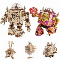 Robotime 5 Kinds Fan Rotatable Wooden DIY Steampunk Model Building Kits Assembly Toy Gift for Children Adult AM601 210909