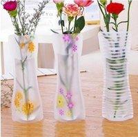 50pcs Creative Clear Clear PVC Vases en plastique Sac d'eau Eco-convivial Vase de fleurs pliables réutilisables Accueil Mariage Decoration GWB6903