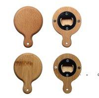 Kreatywne bambusowe drewniane otwieracz do butelek z uchwytem Coaster Lodówka Magnes Decoration Piwo Button-Otwieracz FWF10733