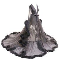 Donne da notte Sleepwear Piuma Accappatoio Lungo Wedding Bridal Robe Personalizza Prospettiva NightGown Pellicita Pigiama di maternità