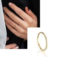 Canner Fashion Minimalistic Bear 925 Стерлинговое кольцо для женщин Простое Золото Цвет Тонкая Кольца Обручальные кольца Кольца Пальца Ювелирные Изделия 1437 Q2