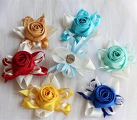 Wedding Groomsman Boutonniere 8pieces lot Party Man Suit Accessories Bridal Wrist Corsage Flower Decoration Gold Decorative Flowers & Wreath