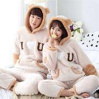 Kalın Kış Pijama Erkekler Için Set Sıcak Pijama Set Sevimli Pijama Suit Aşk Mektupları Baskı Kadınlar Ev Giyim Mujer Pijamas 211014