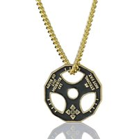 Pendant Necklaces Dumbbell Tablet Men's Necklace Steering Wheel Fitness Stainless Steel Chain Link Sports Exercise Jewelry