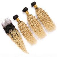 # 1b 613 blonde ombre péruvienne cheveux humides et ondulés 3bungles avec une vague d'eau de fermeture deux tons ombre dentelle fermeture 4x4 avec tisseries