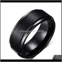 Rings Drop Delivery 2021 Mens 8Mm Bangs Se Riwedding Band Black Pure Carbide Tungsten Engagement Ring For Men Jewelry Feb8S