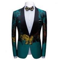 Мужчины Green Blazer Slim Stage Costume Singer Host танцор свадьба смокинг куртка большой шальчик отворотный банкетный вечеринка PROM ночной клуб Ball1