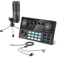 Maono Caster Lite AM200-S1 All-On Microfone Microfone Mixer Kit Card de som Interface de áudio com Condensador MicearPhone para PC PC