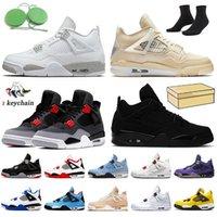 Nike Air Jordan 4 Off White Jordan 4s Retro أحذية كرة السلة 2022 الأشعة تحت الحمراء Jupman 4 4S  قبالة لامع الأسود القط ترافيس سكوتس المحكمة الأرجواني الرياضة رياضة جامعة