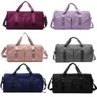 lulu saco de viagem grande capacidade feminina seca e molhada separação Lu esportes yoga gym sacos bagagem sacos de bagagem sacos de mensageiro zipper oxford pano pano de pano
