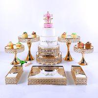 أخرى خبز 4-9 قطع كريستال المعادن كعكة حامل مجموعة الاكريليك مرآة كب كيك ديكورات الحلوى الركيزة حفل زفاف عرض صينية