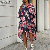 Robes de chemise Femme Zanzea 2021 Automne Impression florale Longueur du genou Vestidos Casual manches longues Sundress robe de vacances surdimensionnée 5xl