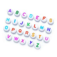 100 unids / bolsa DIY String Beads Materiales Educación Early 4x7mm Redondo Color plano Color Inglés Cartas de acrílico Beads Pulsera Accesorios de joyería