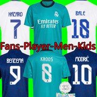 21 22 Gerçek Madrid Futbol Forması Benzema Balya Camisetas De Futbol Alaba Kroos ISCO 2021 2022 Tehlike Modric Asensio Üçüncü Üst Futbol Gömlek Erkekler Kids Kiti Üniformaları