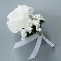 Decorative Flowers & Wreaths Wedding Brooch Artificial Single Rose Skirt Ceremony Bridegroom Man Bridesmaid Suit Decoration