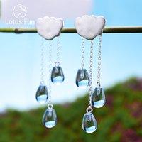 Lotus divertimento real 925 esterlina prata natural cristal jóias fina nuvem étnica nuvem longa tassel soltar brincos para mulheres brincos