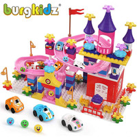 Burgkidz Benim İlk Kale Yapı Blokları Uyumlu Büyük Mermer Koşak Çocuklar Arabalar Pist Oyuncaklar Kız Erkek Çocuklar için 210416