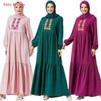 Pink Green Purple Abaya Dubai Turkish Pakistan Turkey Vestidos Muslim Hijab Dress Women Embroidery Kaftan Islamic Clothing 2021 Ethnic