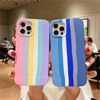 Rainbow Liquid Silicone Compeate Phone Case для iPhone 11 12 Pro Max Mini X XS XR 7 8 плюс SE 2 Мягкая крышка